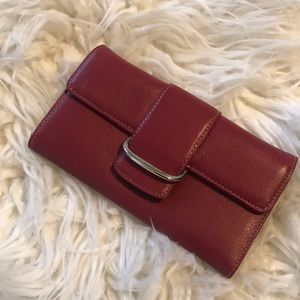 cole haan red leather wallet